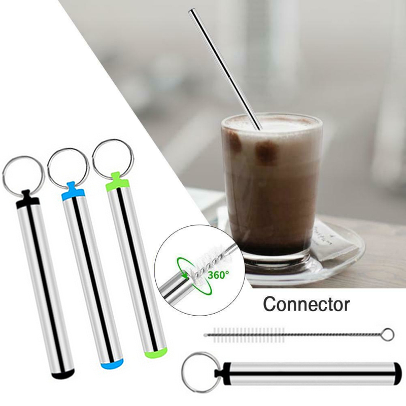 Portable Stainless Steel Telescopic Drinking Straw Travel Straw Reusable Straw With 1 Brush And Metal Carry Case