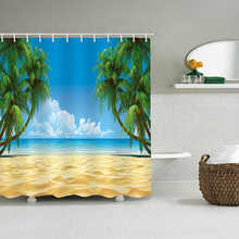 3D Shower Curtain Sea Scenery  Sunny Beach Printed Bath Screen Waterproof Bathroom Curtains Polyester Bath Curtain With Hooks