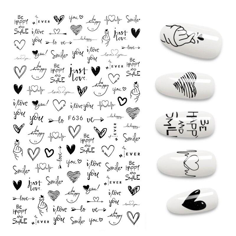 Autocollants 3D pour ongles dotes d'un cool design, accessoires de manucure à motifs de lettres anglaises, cœurs, amour et autre..., |