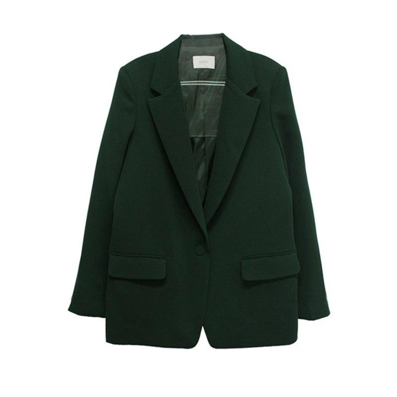 Autumn Korea Loose Solid Color Simple Female Suit New Spring 2 pieces Set Jacket + Feet Pants