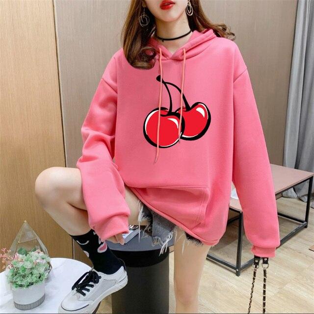 14 Colors Fleece Thick Warm Oversized Print Cherry Hoodie Women Long Sleeve Cute Kawaii Brand Sweatshirts and Hoodies Ladies 1