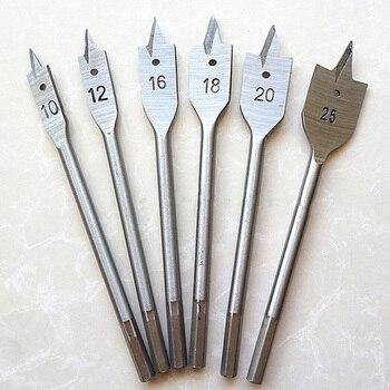 цена на 6pcs/lot Wood Drill Bit Set Flat Spade Paddle Flat Wood Boring Drill Bit Metric 10mm 12mm 16mm 18mm 20mm 25mm Wood Boring