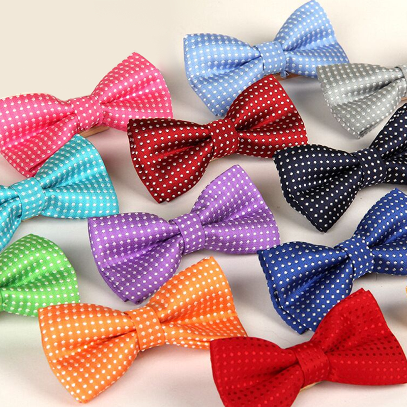 Hot Children's Polyester Silk Bow Ties Adjustable Boy Girl Student Baby Dot Bowtie Solid Butterflies Vintage Tuxedo For Party