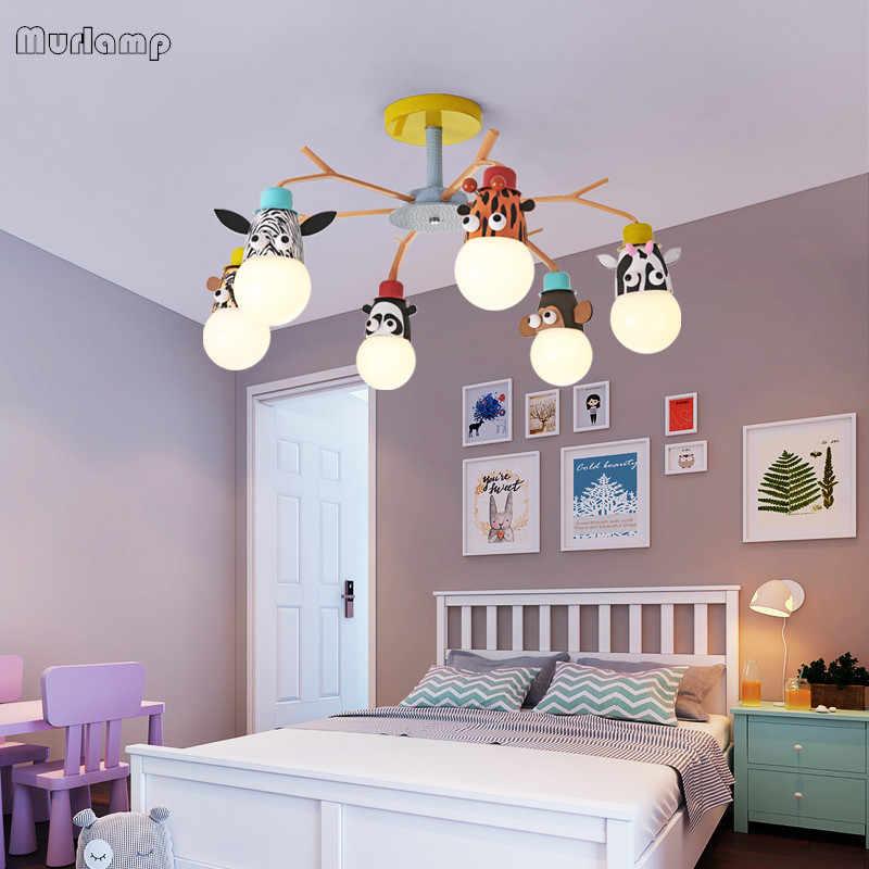 Murlamp LED Modern Kamar Anak-anak Kartun Kreatif Hewan Kepala 90-260V Lampu Langit-langit