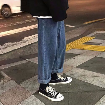 Handsome hip-hop couple Korean version of the spring liberal Korean version of casual pants boys and girls jeans nine minutes pa цена 2017