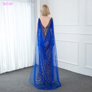 Image 2 - YQLNNE Couture Luxury Blue Crystals Evening Dress Sexy V Neck Nude Lining Evening Gowns Sleeveless Mermaid Dresses With Shawl