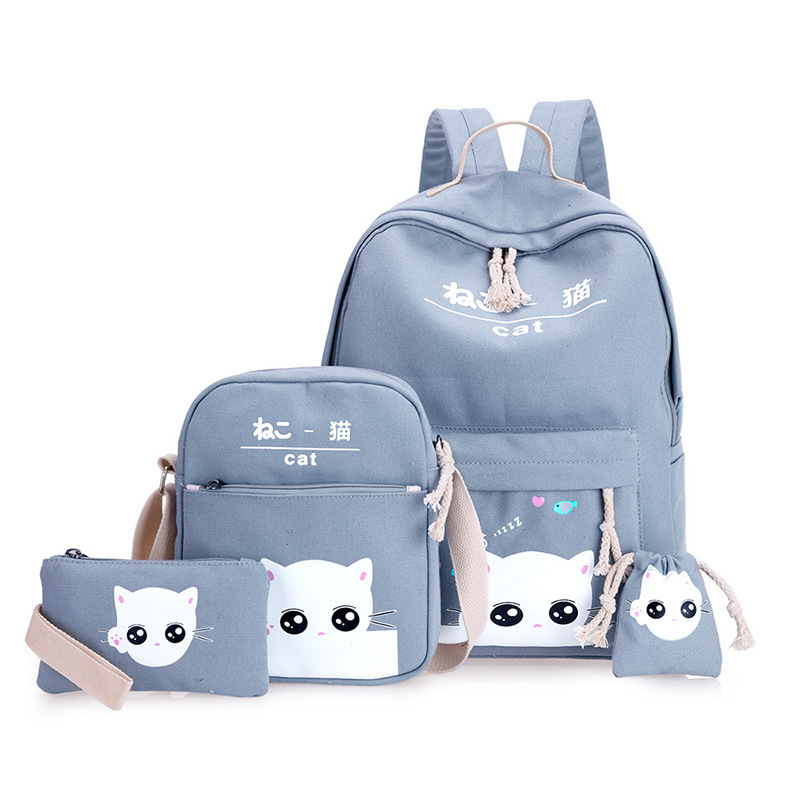 School-Bags Mochilas Escolares Girls Boys Cartoon 4pcs Backpack for New Lovely Kids Printing title=