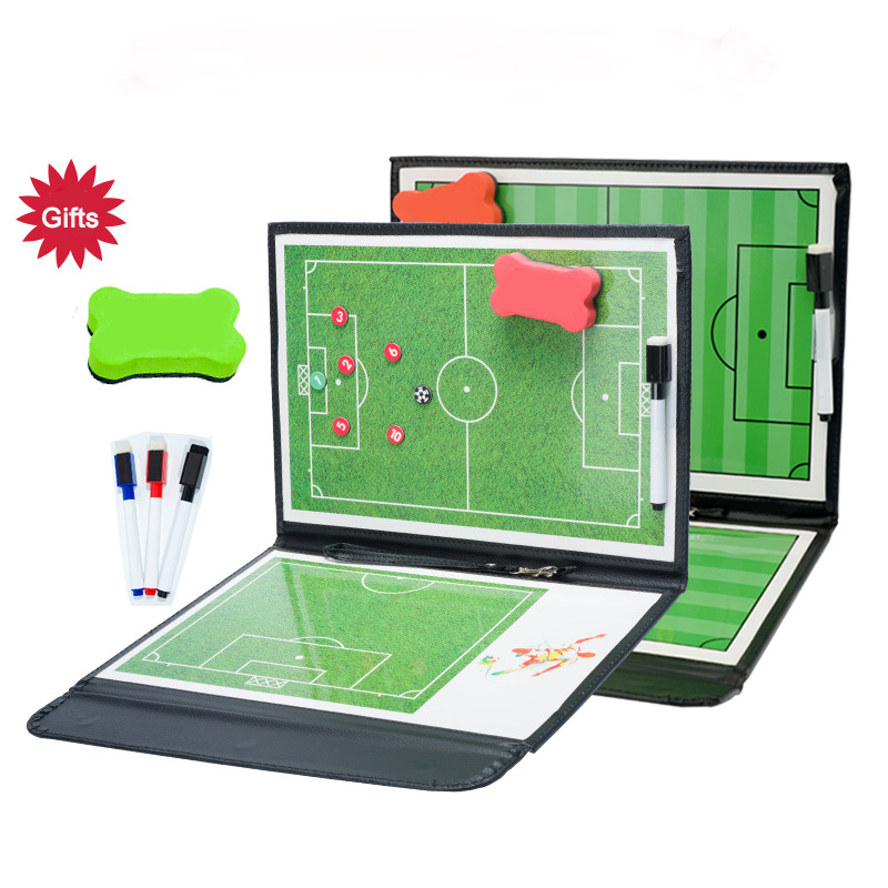 Portable Soccer Tactical Board Foldable Magnetic Leather Football Coach Training Competition Erasable futbol Ball Tactics board