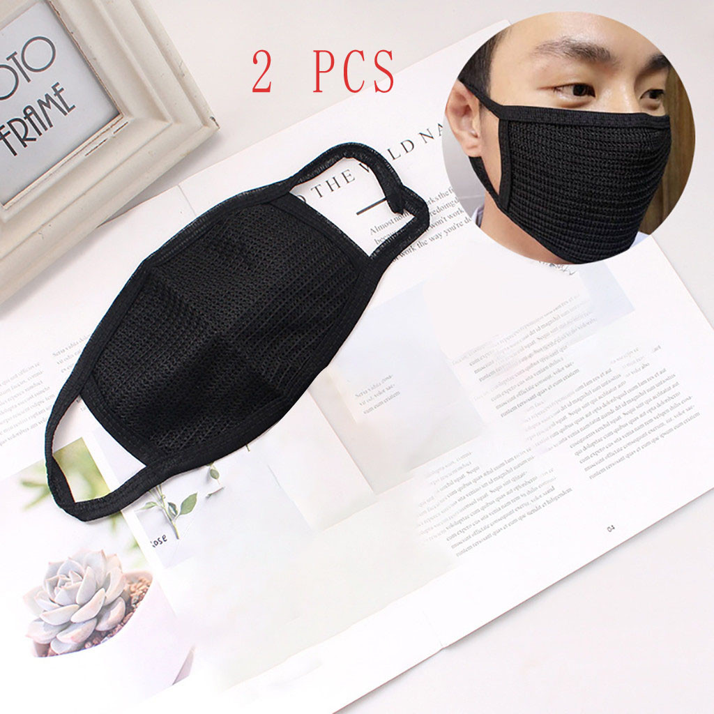 2PCS Hot Sale Cheap Anti-dust Black Mouth Mask Unisex Cotton Face Mask Anime Mask for Cycling Camp Outdoor Protection Mask title=