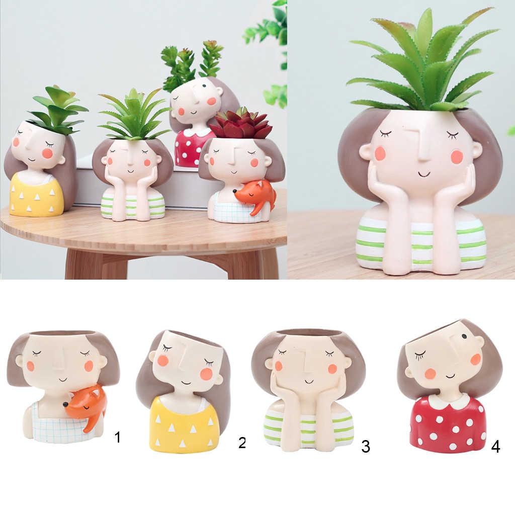 4 Pcs/set Cewek & Cowok Desain Mini Pot Bunga Kaktus Succulent Tanaman Wadah Pot Bunga Taman Penanam Kotak Jendela Rumah DIY dekorasi