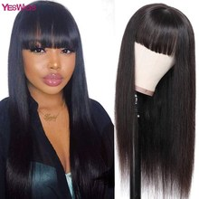 Yeswigs Straight Hair Wig Full Machine Made Human Hair Wig Brazilian Straight Human Remy Hair With Bang 30 inch long Straight