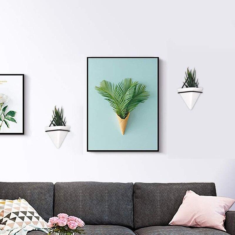 Wall hung flowerpot succulent ceramic flowerpot indoor green plant ornament flower arrangement micro landscape living room decor Flower Pots & Planters     - title=