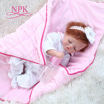 49CM sweet reborn baby girl doll with blanket newborn baby soft touch weighted soft body doll Christmas Gift bebe doll reborn