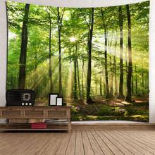 Piękny naturalny las drukowane duża ściana gobelin tanie ściana hipisowska wiszące czeski gobeliny ścienne Mandala na ścianę dekoracja #3 tanie tanio 100 poliester Nowoczesne Scenic Włókniny Prostokąt