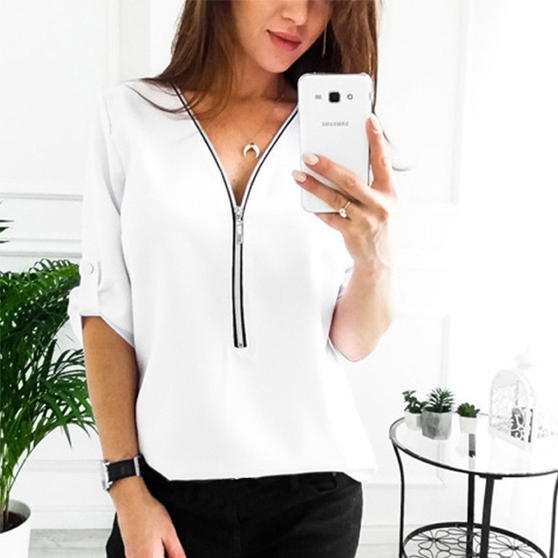 Women Spring Summer Chiffon Blouse Top 2019 V Collar Zipper Roll Up Long Sleeves Loose Shirt Blusa Feminina Plus Size 5XL