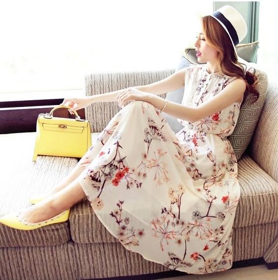 2019 Summer Wear Chiffon Dress WOMEN'S Dress Floral-Print Bohemian Long Skirts Sleeveless Seaside Holiday Beach Skirt