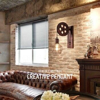 Creatieve IJzeren Katrol Wandlamp  2