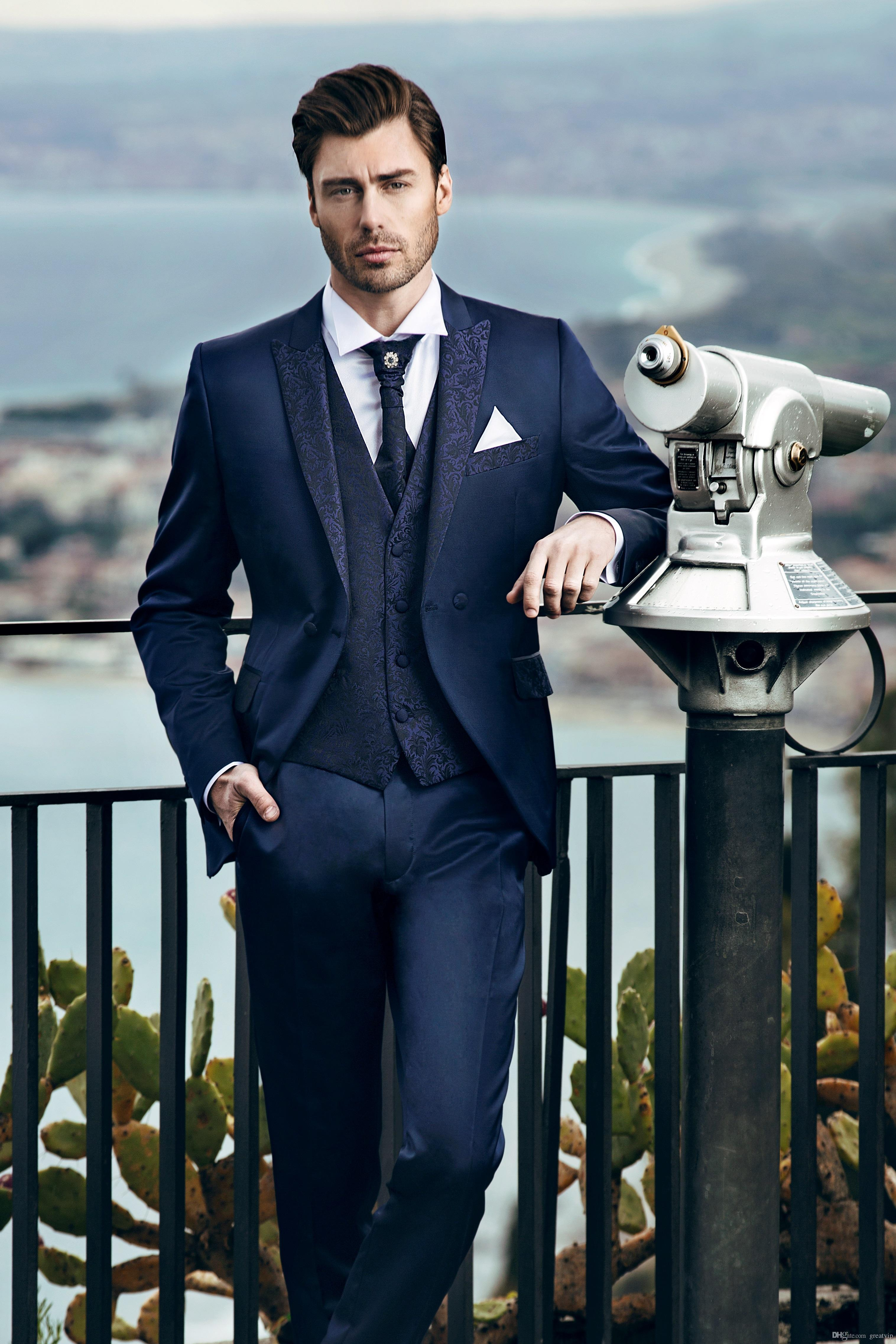 Mens Suits Business Formal Wedding Tuxedos Peaked Lapel Bridal Groom Jackets Printed Wedding Suits (Jackets+Pant+Vest)