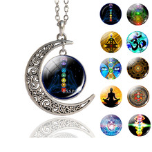 7 Chakra Reiki Healing Crescent Pendant Necklace Antique Silver Necklace Handmade Meditation Spiritual Jewelry for Women Men(China)