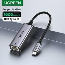 Ugreen usb c ethernet USB-C para rj45 lan adaptador para macbook pro samsung galaxy s20/s10/nota 10 tipo c placa de rede usb ethernet