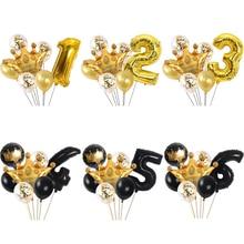 Crown Balloons Birthday-Party-Decorations Globos Latex Gold 7pcs Confetti Gift Digital