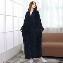 Autumn and winter flannel bathrobe wide thick warm multi-color zipper Bridesmaid Robes unisex couple models