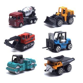 цена на 6Pcs Mini Construction Vehicles Car Model Toy Alloy Excavator Truck Machinery Diecast Car Construction Vehicle Set for Children