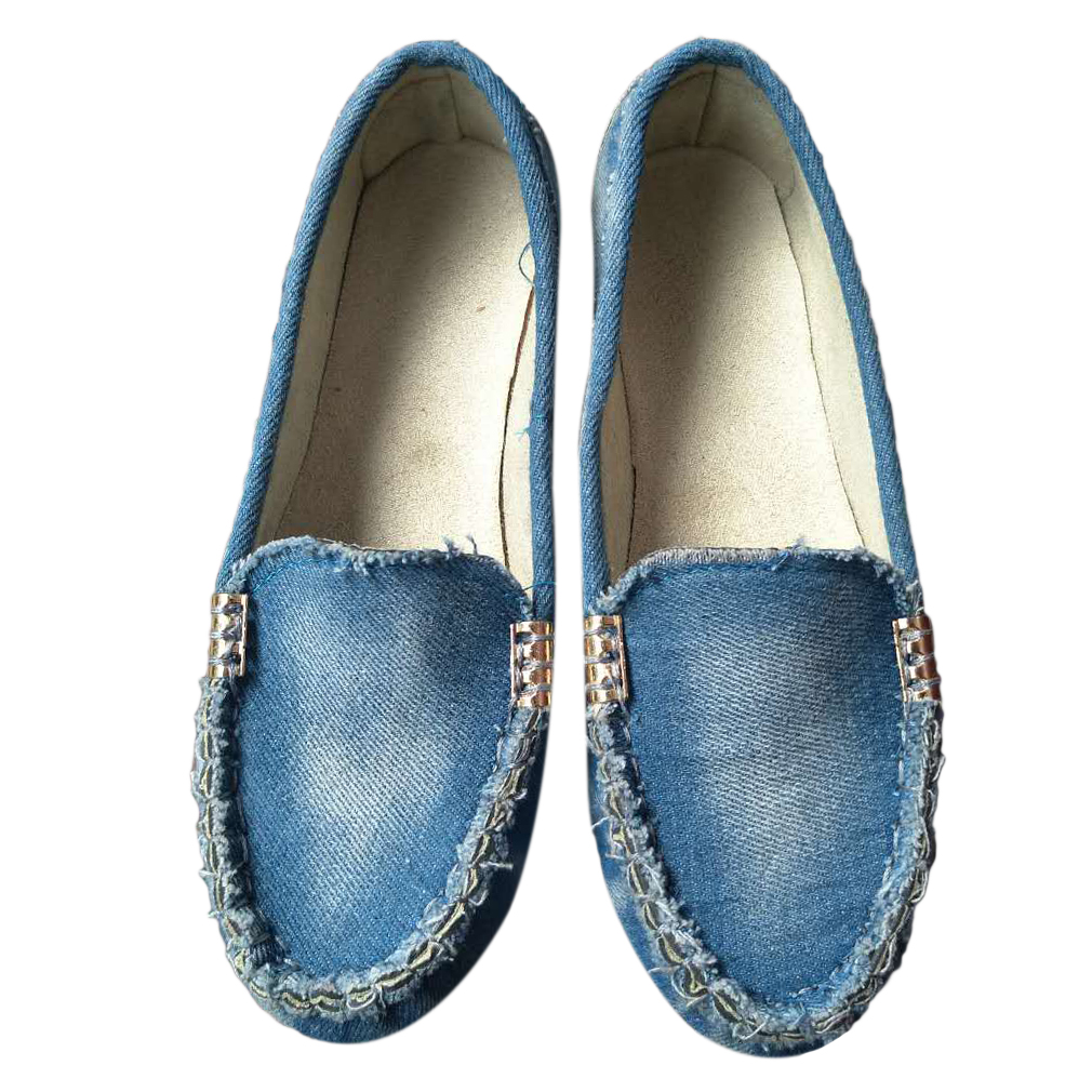 Plus Size Women Flats Shoes 2019 Spring Autumn Flat Loafer Women Casual Shoes Slips PU Leather Jeans Blue Flats White Shoes Lady