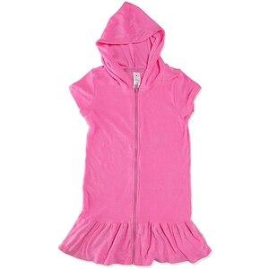 Купальный костюм с короткими рукавами и капюшоном, накидка на Купальник для девочек, Пляжное Платье, Пляжное Платье, летнее платье для девоч...