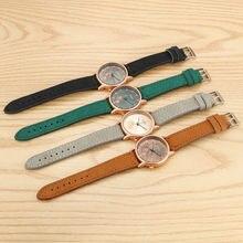Uhren – montre ronde en cuir pour femmes, montre rétro simple, discrète, imitation quartz, offre éclair