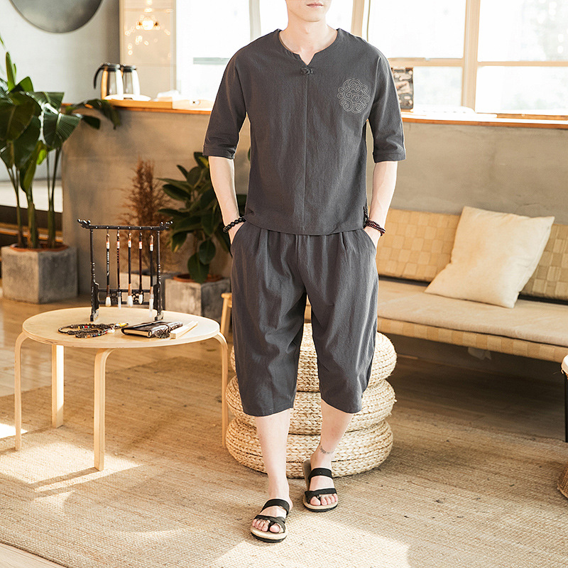 2019 New Style Chinese-style Set Cotton Linen Three-quarter Sleeve T-shirt Capri Pants Men's Wear Summer Solid Color Leisure Sui