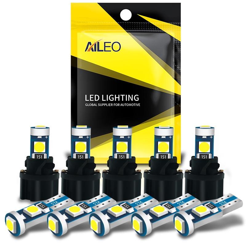 AILEO 10 шт. T5 W3W W1.2W PC74 PC37 PC118 сверхъяркий Светодиодный индикатор для подогрева приборной панели автомобиля клиновидсветильник лампа для прибор...