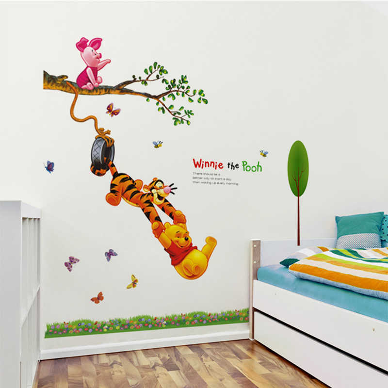 Animal Cartoon Winnie Pooh Boom Muurstickers Voor Kids Baby Kamers Jongens Meisje Home Decor Muurstickers Home Decoratie Behang