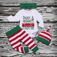 Cute Baby Girl Clothes 2019 New Newborn Infant Girls Boys Christmas Long Sleeve Letter Bodysuit Stripe Pant Outfits Set bebes
