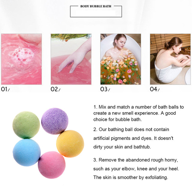 1pc Bath Salt Ball Body Skin Exfoliate Whitening Ease Relaxion Stress Relief Natural Bubble Shower Bomb Ball 5color Cleaner Spa 3