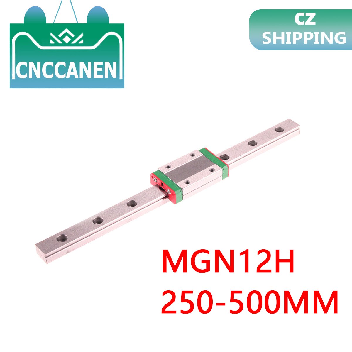 MGN12 Miniature Linear Rail Slide 250/300/350/400/450/500mm 1PC MGN Linear Guide + 1PCS MGN12H Carriage Block For CNC 3D Printer