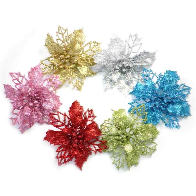 Artificial Poinsettia Glitter Flower Christmas Tree Hanging Ornament Fake Flowers DIY New Year Wedding Marriage Decor