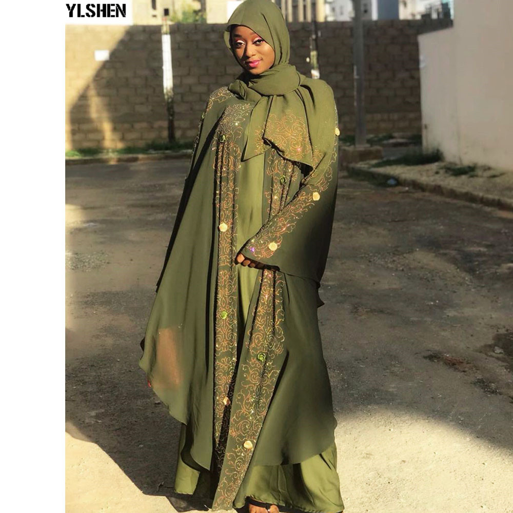 Diamond Abaya Dubai Muslim Dress Luxury High Class Hijab Dress Ramadan Abayas Kaftan Islamic Clothing Women Turkish Eid Mubarak
