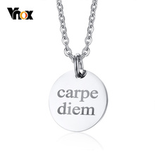 Vnox Engraved Carpe Diem Necklaces for Men Solid Color Coin Round Pendant Necklace colar masculino Free Chain 20