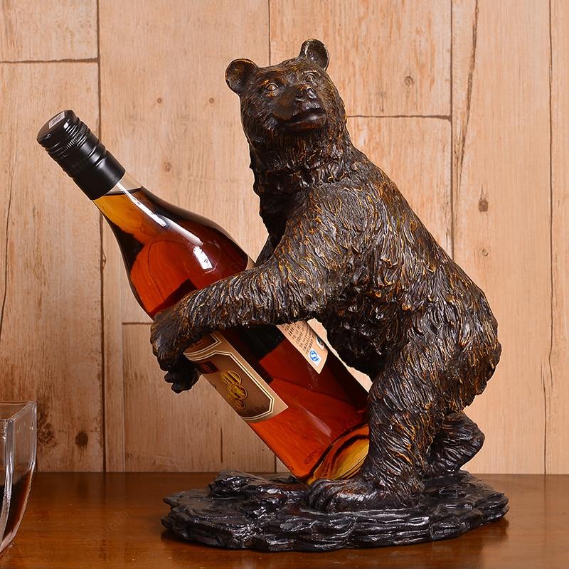 Retro Bear Wine Rack Vintage Bottle Holder Mount Restaurant Dining Room Bar Home Storage Furniture Wine Display Cabinets Shelf