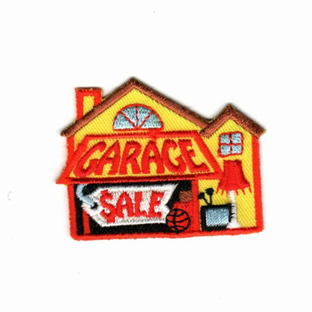 Custom embroidery patches garage sale house small cute emblem 75% embroidery area hot cut border iron on patch for cloth jacket image