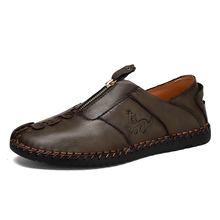2020 handmand Hot Sale Leather Shoes Men Comfortable Cowhide Loafers High Quality Breathable Flats Non-Slip Casual