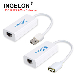 USB 200M Extender Over RJ45 Ethernet Cable USB2.0 Converter Extension Adapter TX RX Sender Receiver by CAT5E or CAT6 Cat5e/6(China)