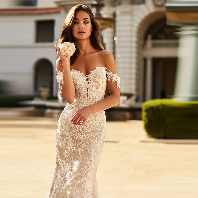 Delicate Charming Mermaid Lace White Wedding Gowns for Bride Off Shoulder Short Sleeve Sweetheart Bridal Dresses Open Back New