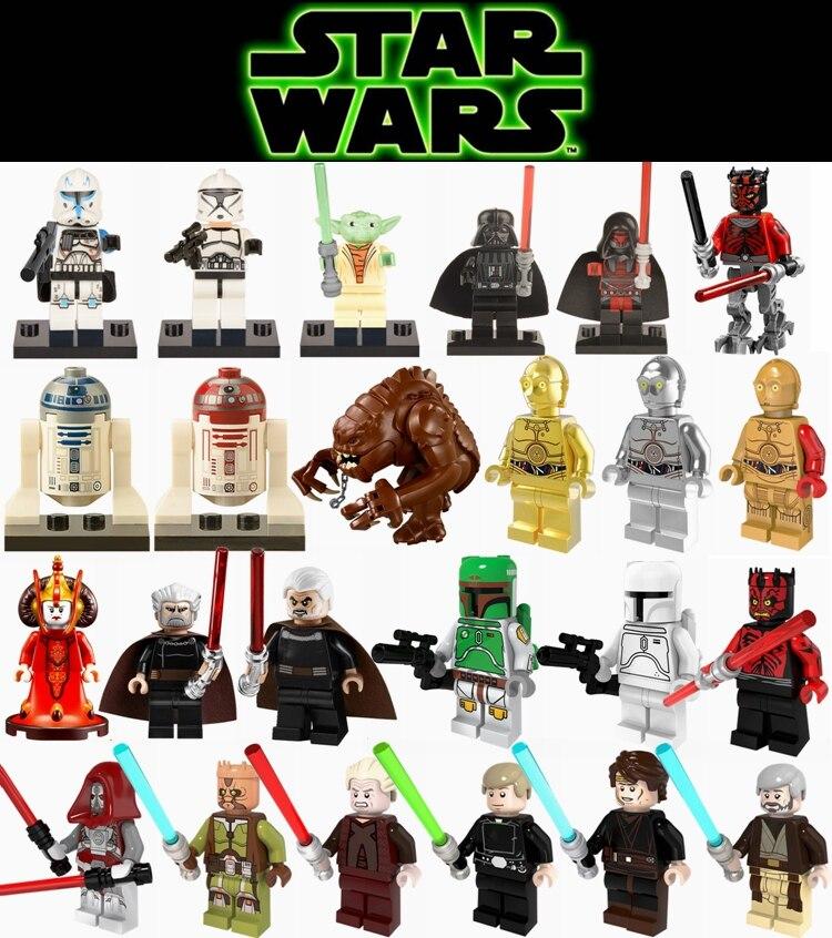 Star Wars Figures Luke Leia Han Solo Ewok Anakin Darth Vader Yoda Jar Space Wars Robot R2-D2 C-3PO StarWars Building Blocks Toys
