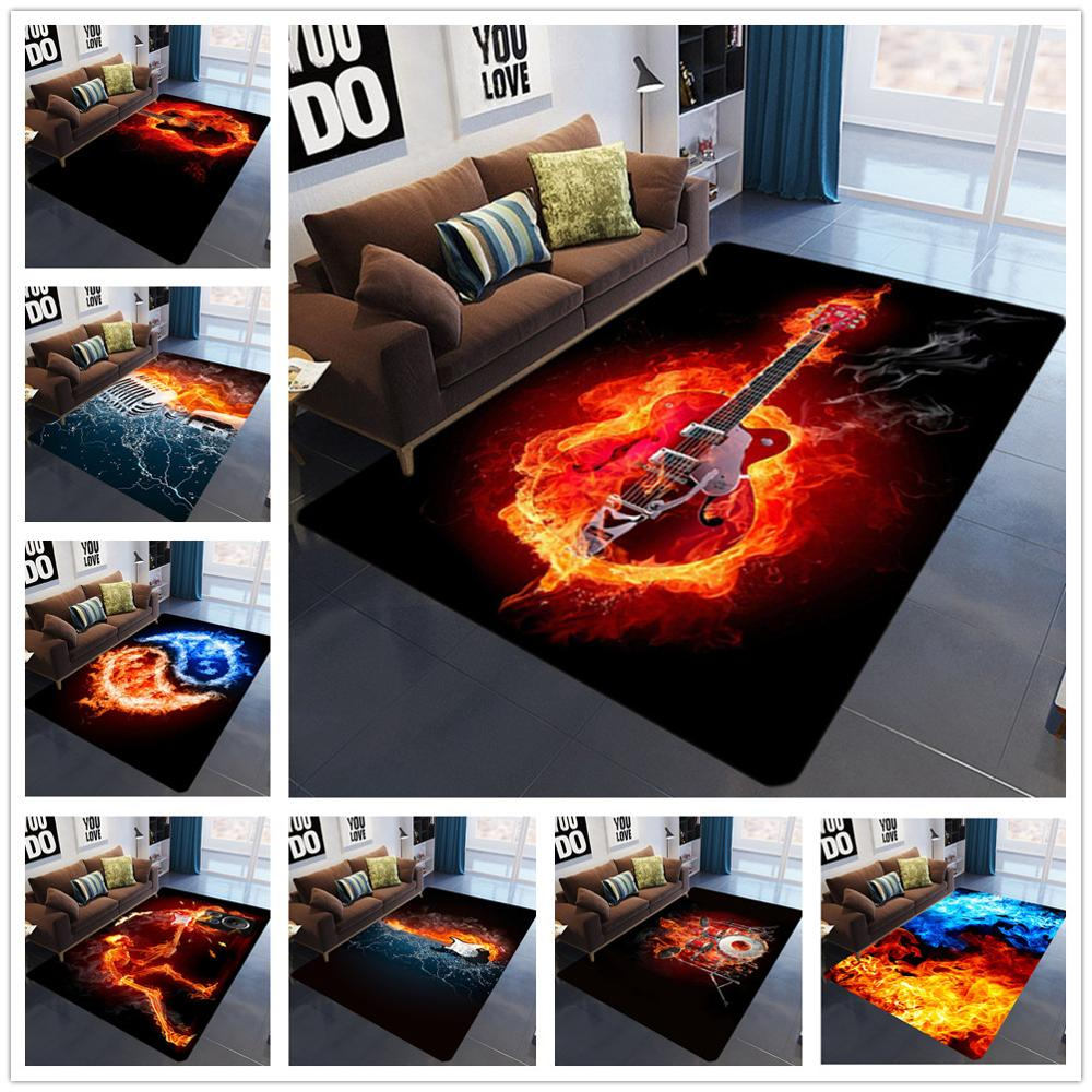 3D Printing Bedroom Area Rugs Flame Skull Gothic Large Size Carpets Modern Halloween Party Anti-slip Floor Rug Home Decor Mats