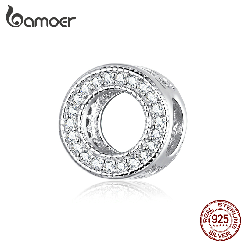 Bamoer Genuine 925 Sterling Silver Shiny CZ Paved Round Charm For Original Silver Bracelet Fashion DIY Jewelry Bracelets BSC212