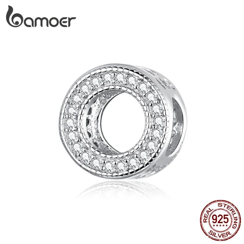 Bamoer Genuine 925 Sterling Silver Shiny CZ Paved Round Charm For Original Silver Bracelet Fashion DIY Jewelry Bracelets BSC212