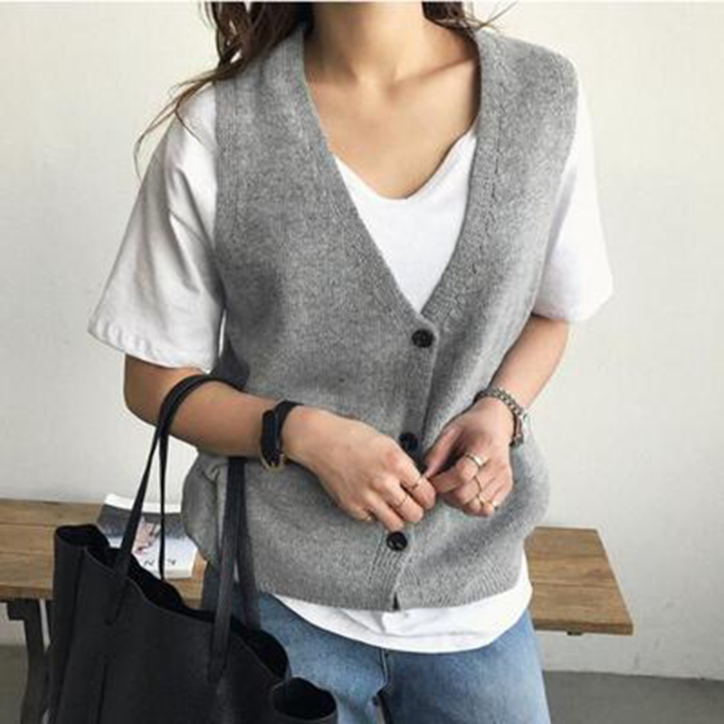 ATTYYWS Ladies Knitted Sleeveless Sweater Short V-neck Cardigan Cashmere Vest Wild Simple Women's Coat Wool Vest Hot Pullovers