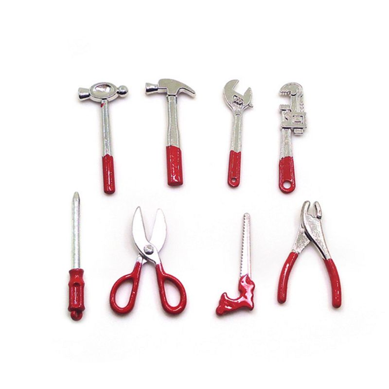 8pcs Mini Miniature Dollhouse Room Garden Accessory Hammer Screwdriver Hand Tool R7RB